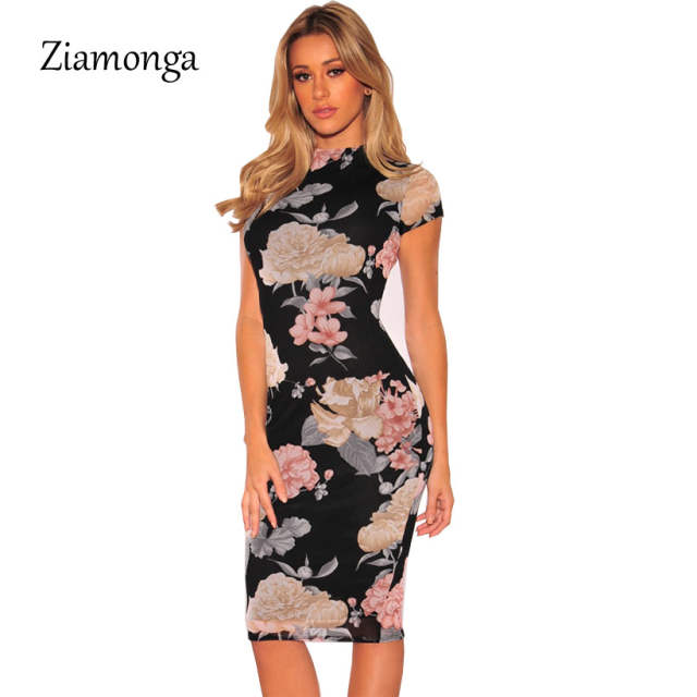 8280f90c75c Ziamonga Plus Size Bandage Dress 2019 Sexy Party Dress Black Floral Print  Knee Length Pencil Midi