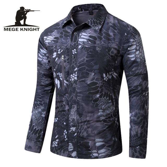 Destacável camuflagem de manga comprida camisa casual clothing, Camisa tática, abotoado Camisas de manga longa para Homens