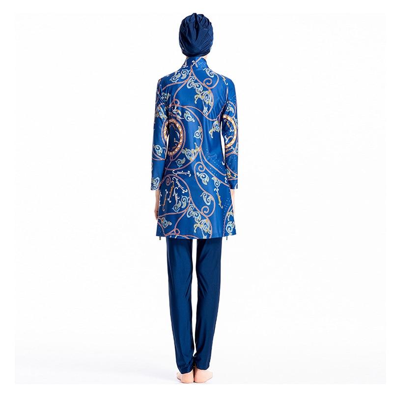 Plus Size Muslim Swimwear Women Modest Floral Print Full Cover Swimsuit Islamic Islam Burkinis Beachwear Swimming Bathing