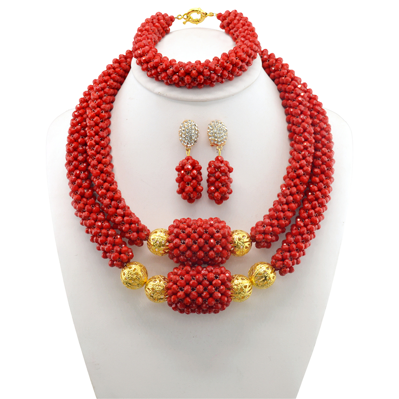 Brides Red Necklace Set Dubai Nigerian Costume Wedding Statement Jewelry Sets Choker African Beads Jewelry Sets For Women hot red statement choker necklace african wedding beads for women set dubai costume bridal lace jewelry set free shipping abf550