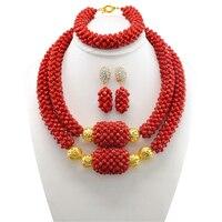 Noivas Vermelho Colar Conjunto Dubai Conjuntos de Jóias Gargantilha Traje Declaração de Casamento Nigeriano Beads Africanos conjunto de Jóias Para As Mulheres