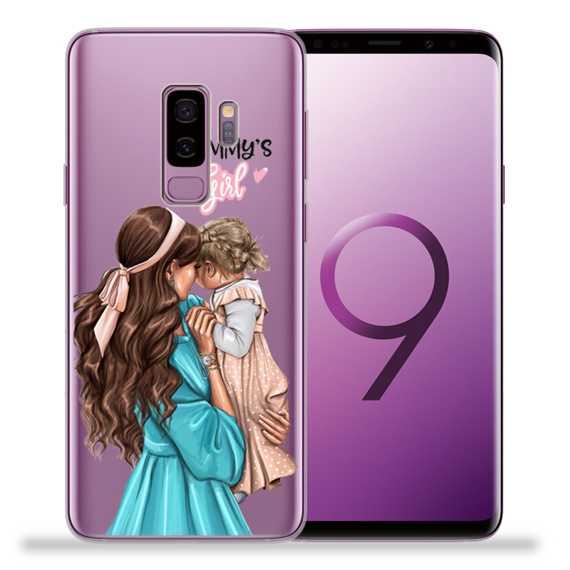 Black Brown Hair Baby Mom Girl Queen Coque Shell Phone Case For Samsung Galaxy S9 S8 S10 Plus S7 S6 Edge S10 Lite Note9 8 Cover