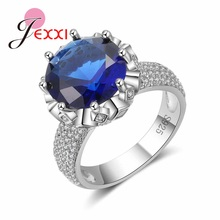 JEXXI Classic Luxury Jewelry Shiny 925 Sterling Silver Wedding  Blue Crystal Women Bridal   Women Ring 2017  NEW Listed