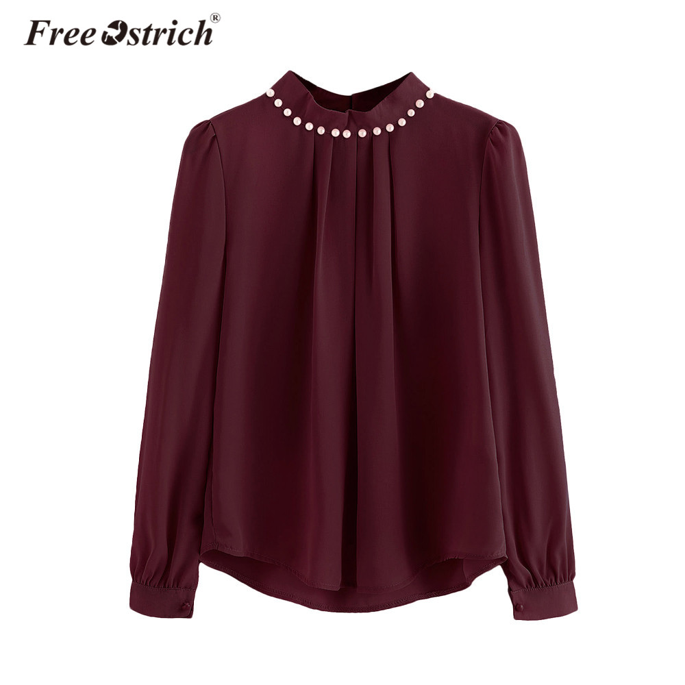 Free Ostrich Chiffon Blouse Women Long Flare Sleeve High Neck Female Tops and Blouses Autumn Winter Pearl Beaded L2735