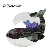 Animal Fish Brooch Acrylic Dolphin  Whale Shark Puffer Marine Life 3 Colors Acetate Brooches Pins