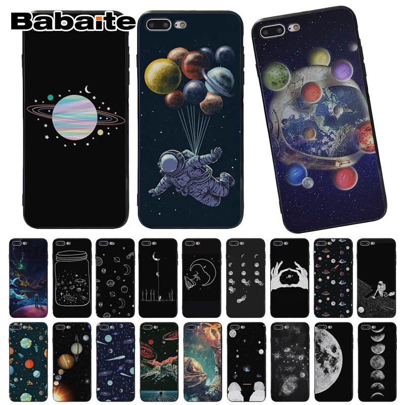 Just Maiyaca Black With White Moon Stars Space Astronaut Soft Shell Phone Case For Iphone 8 7 6 6s Plus X Xs Max 5 5s Se Xr 10 Phone Bags & Cases