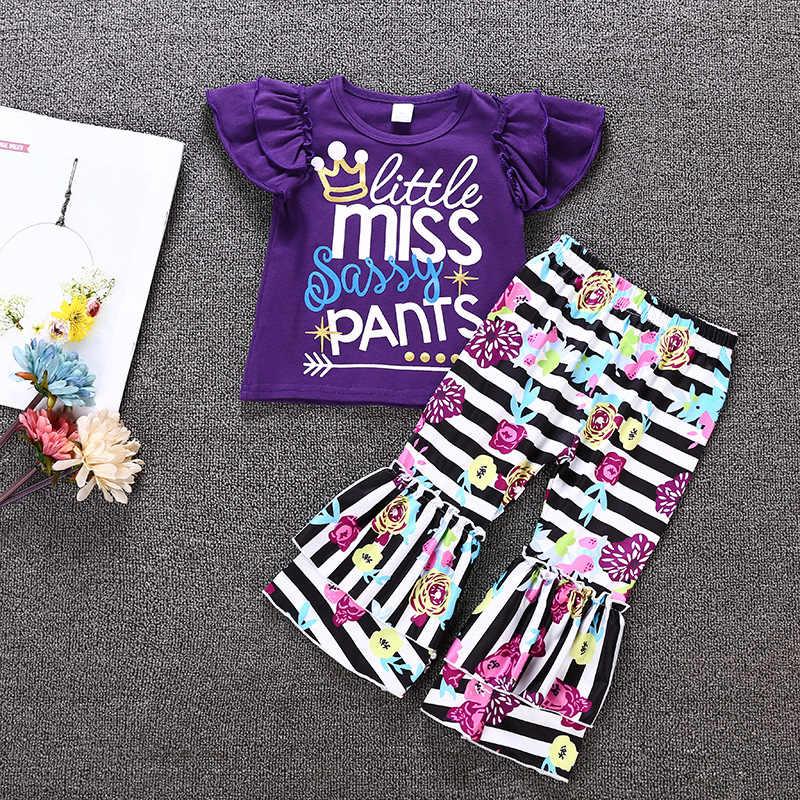 123fa15c6 Elegant children's girl clothing letter print short-sleeved purple T-shirt  top striped bell