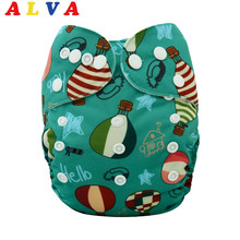 Alvababy Wholesale Double Row Snaps 10pcs Baby Cloth Nappies with Bamboo Inserts