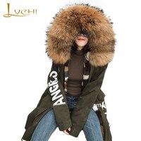 LVCHI Winter 2019 new Coming Cool PARKA Coat Jacket Mink Fur Inner Fur Coat Girl With Raccoon Dog Fur Collar Causal PARKA Coats