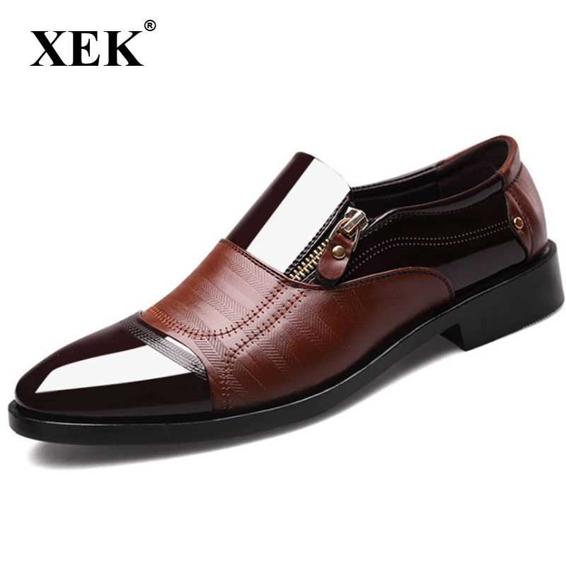 XEK New Spring Fashion Business Men Shoes Leather High Quality Soft Casual Breathable Men's Flats Zip Shoes Plus Size ZLL301