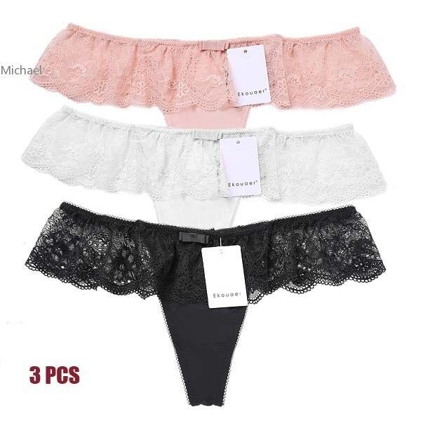 3PCS/set Women Briefs Ladies Sexy Sheer Lace Sexy Panties Knickers Underwear G-String Underpants Plus size M L XL XXL