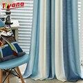 Затемняющие шторы в синюю полоску с принтом для гостиной  современные оконные шторы для свадебной комнаты  кабинета  детские шторы WP109 * 30