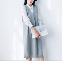 Women's Knitted Vest Dress Solid Color Cute Mori Girl Soft Knitwear Ladies Sweaters Fall Tanks Dress knee Length Knitting Dress