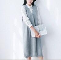 Kadın Örme Yelek Elbise Katı Renk Sevimli Mori Kız Yumuşak Triko Bayan Kazak Güz Tankları Elbise diz boyu Örgü elbise