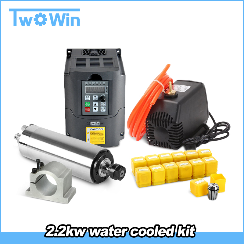 Water Cooled Spindle Kit 2.2KW 220v/110v CNC Spindle Motor + 2.2KW VFD + 80mm Clamp + Water Pump/pipe +13pcs ER20 For CNC Router