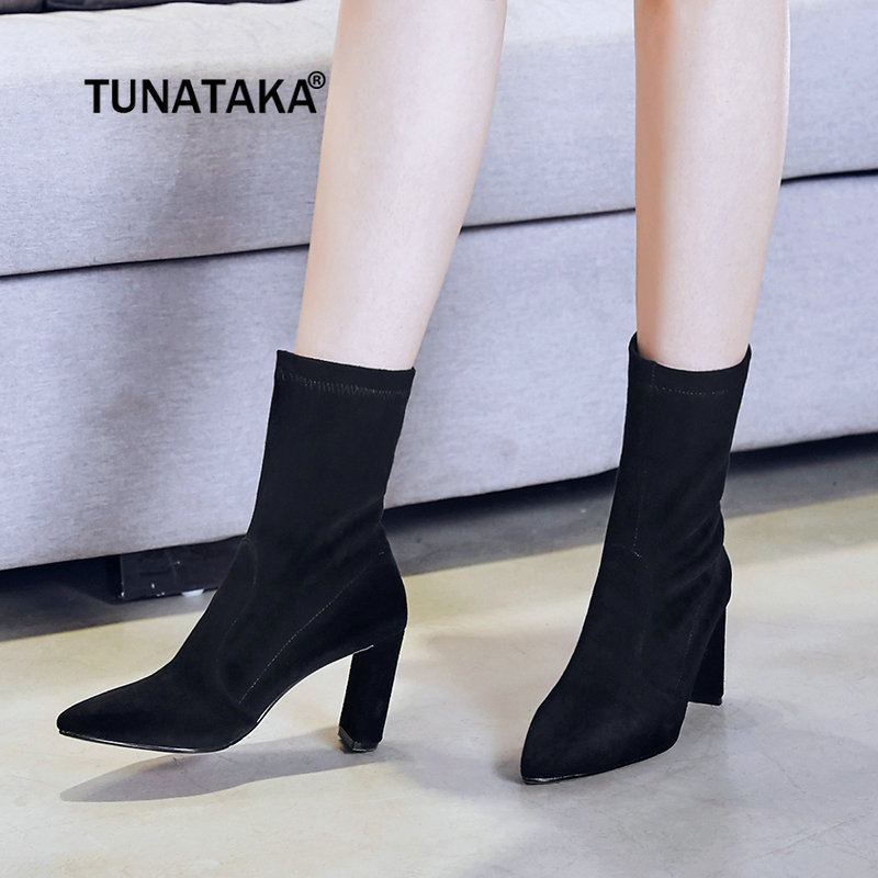 Flock Leather High Heel Mid Calf Boots Fashion Pointed Toe Stretch Fabric Boots Winter Fashion Woman Shoes Black Nude Champagne 2018 new arrival fashion winter shoe genuine leather pointed toe high heel handmade party runway zipper women mid calf boots l11