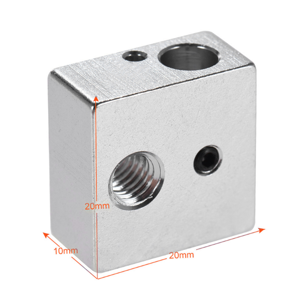 Aluminum Heater Block 3D Printer Heat Heating Block For MK7 MK8 Extruder 3D Printer Hot End, 1 Pcs Accessory
