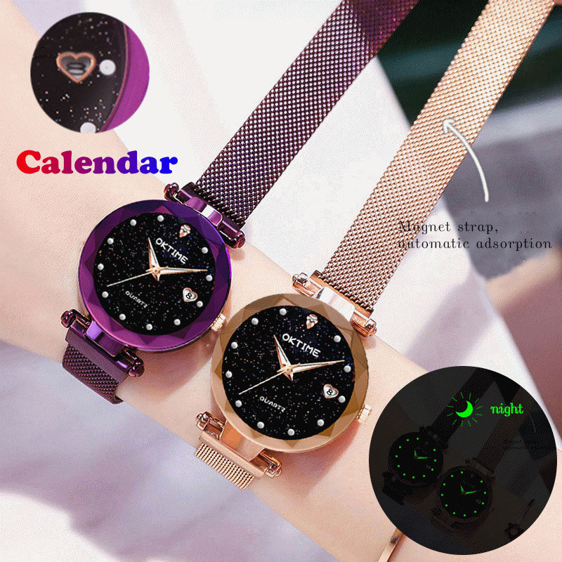 Women Quartz Watch Starry Round Dial Wrist Watches With Magnetic Strap For Business Travel KQS8