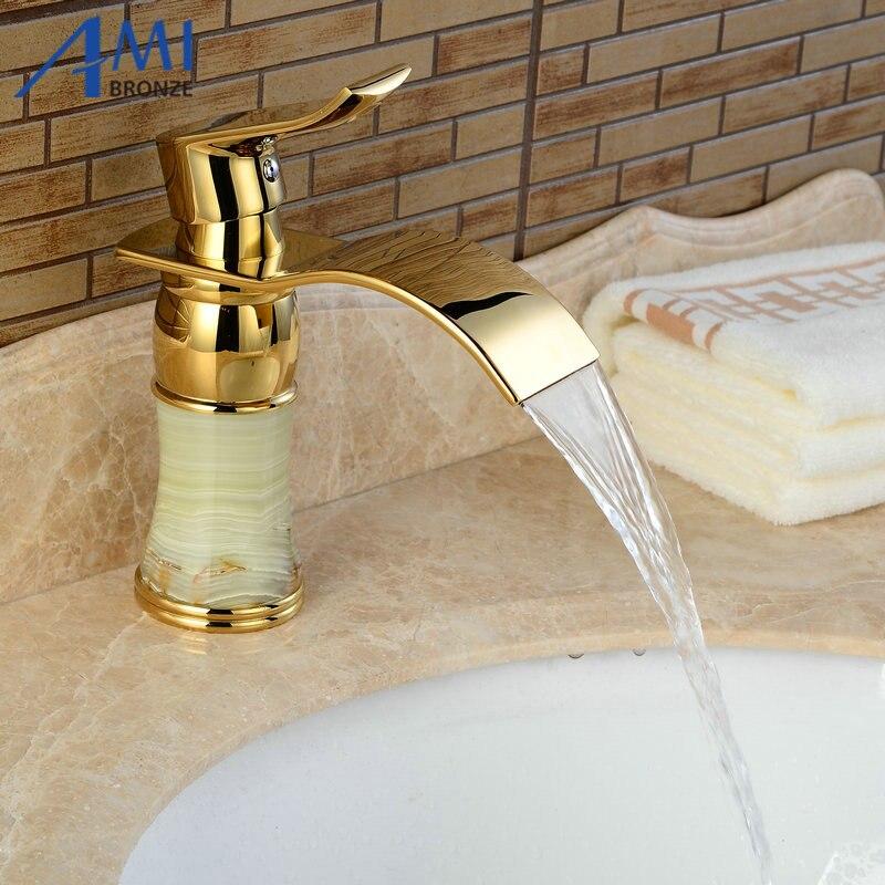 Newly Art Jade Body Bathroom Basin Faucet Brass Mixer Tap Golden Waterfall Faucets J312