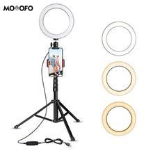 Кольцевой светильник для селфи с штативом и подставкой, держатель для сотового телефона для прямого эфира/макияжа, видео на YouTube/фотосъемки, совместимый с iPhone