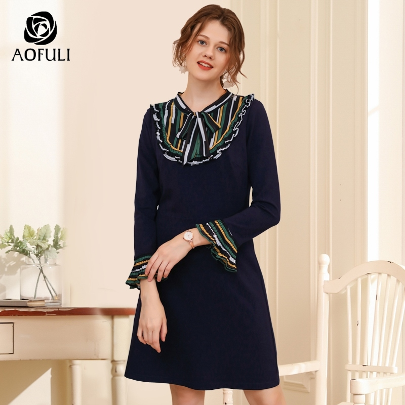 AOFULI Elegant Office Lady Dress Bow Collar Slim Dress For Autumn Winter Long Sleeve Plus Size
