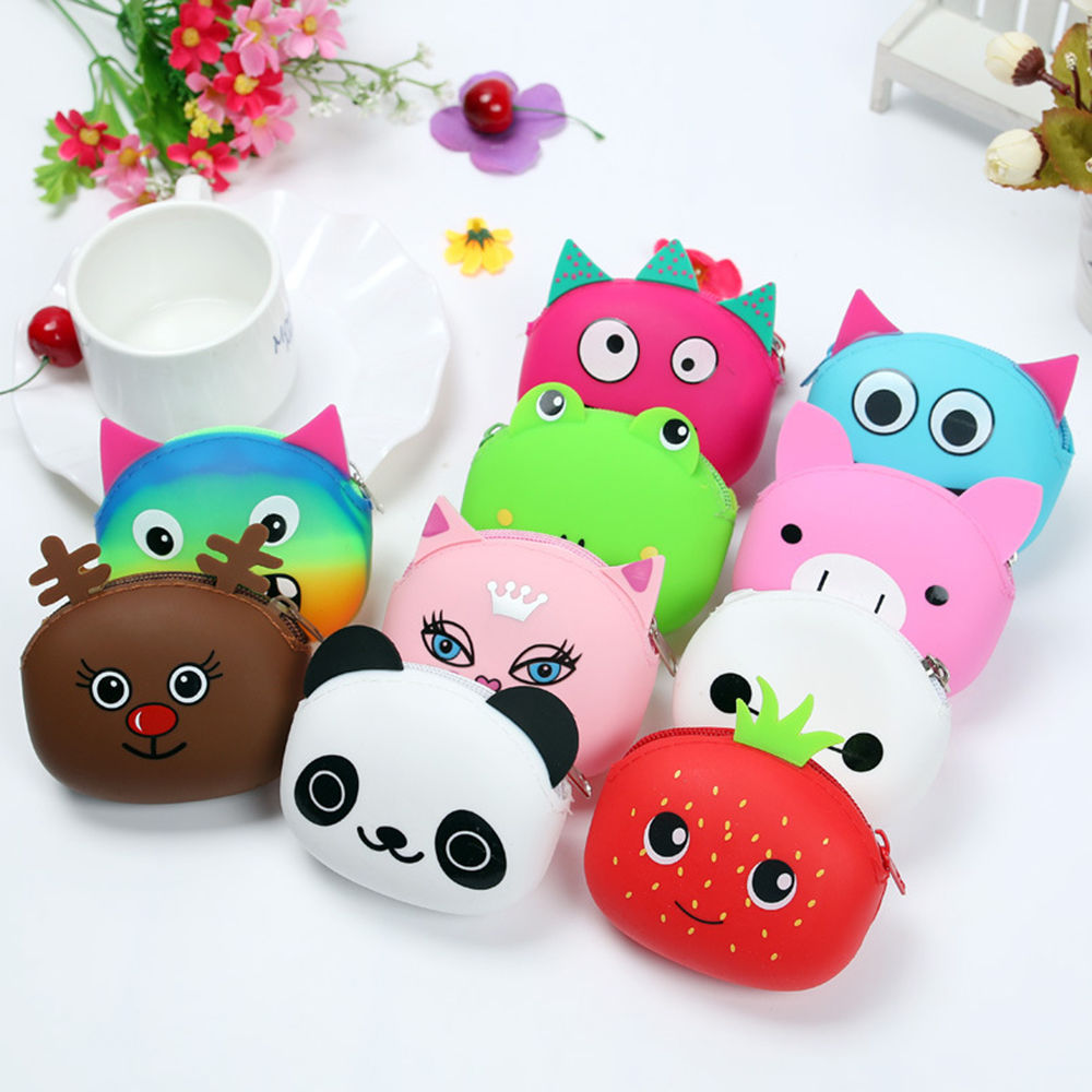 3D Cartoon Animal Candy Colored Girls Coin Bags Women Key Wallets Children Cute Cartoon Mini Coin Purse for Earphone Headphone women s cute 3d dog nylon corduroy coin purse key earphone storage bags wallet
