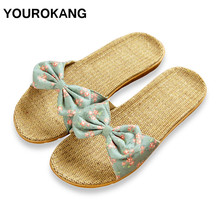 YOUROKANG Women Linen Slippers Summer Home Shoes Cute Butterfly-knot Antiskid Indoor Floor Ladies Flax Slippers Dropshipping summer slippers han edition in female household linen floor indoor slippers antiskid couples lovely cool men s slippers home