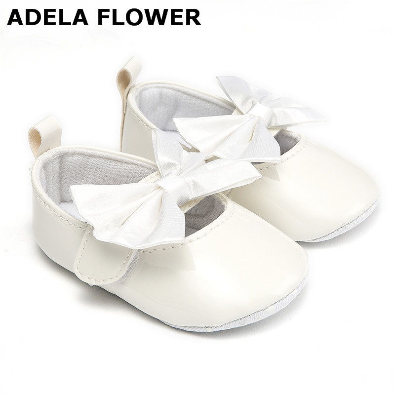 Adela Flower Cute Big Bow Baby Girl Shoes PU Leather Soft Soled Baby Moccasins Toddler Newborn Shoes Girls scarpe neonata 0-18M