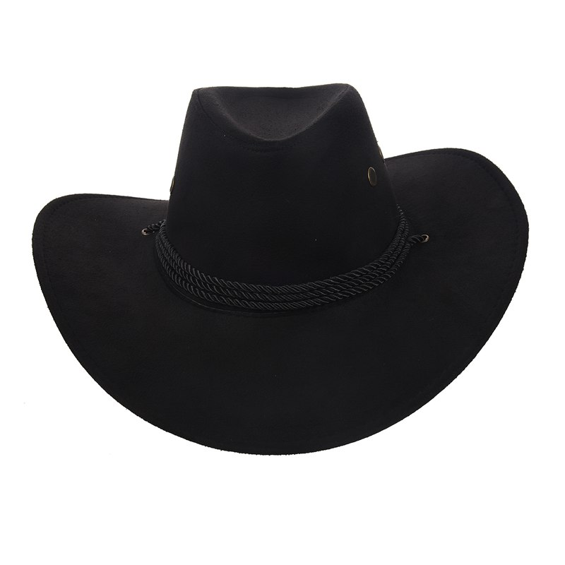 New <font><b>Cowboy</b></font> Cap Suede Look Wild West Fancy Cowgirl <font><b>Unisex</b></font> <font><b>Hat</b></font> Black image