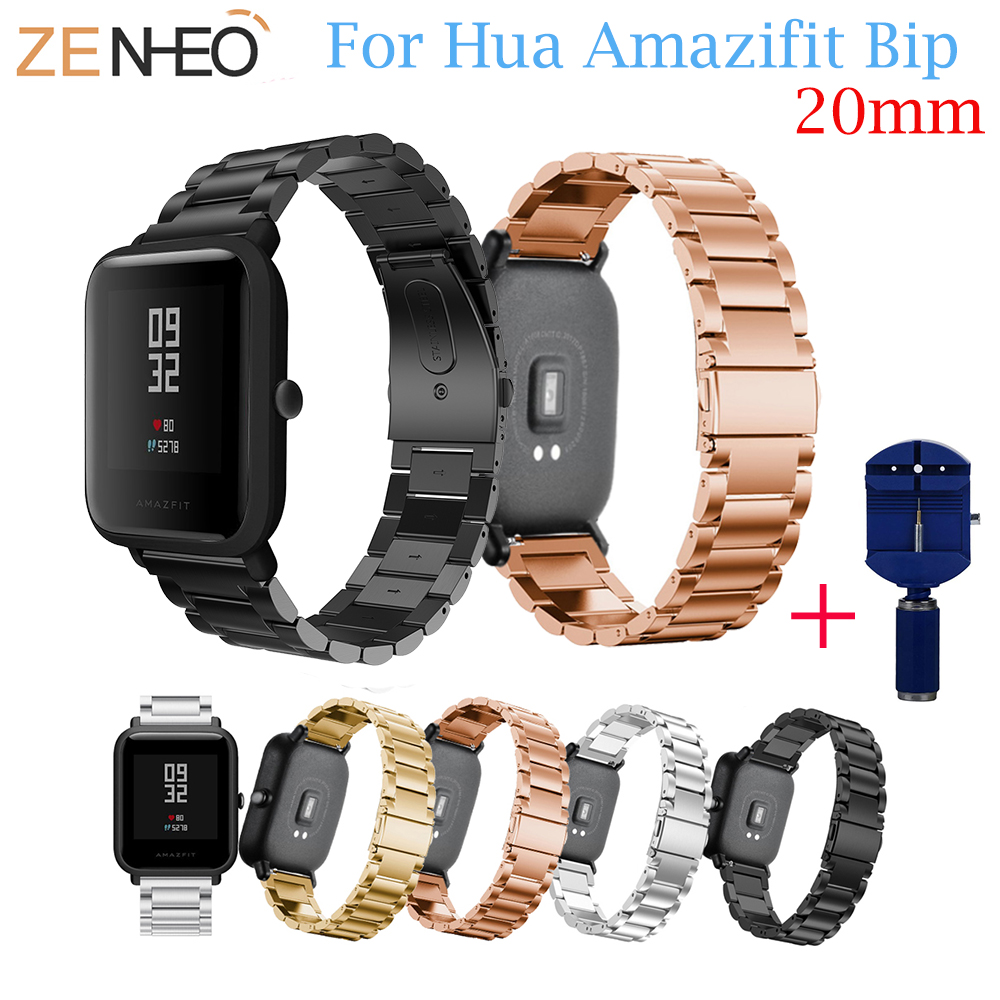 Stainless Steel Band For Amazfit Bip Watchband Replace for Xiaomi Huami Amazfit Band Bracelet For Huami Amazfit Bip Bit Wrist sikai universal 20mm stainless steel watch straps bracelets for huami bip bit pace lite youth watch for xiaomi amazfit bit band