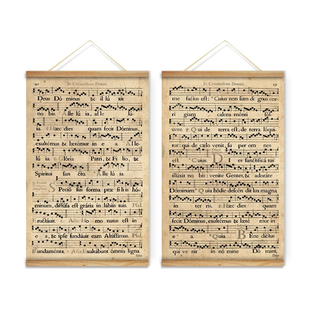 Wooden Scroll Wall Art Retro Music Old Note Pattern Decoration Wall Art Picture Canvas