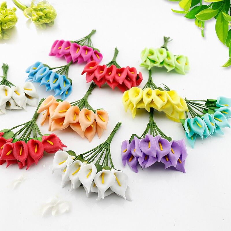 144 шт. Мини Калла букет невесты венок материал декоративные цветы для дома партии Свадебные украшения тычинки искусственные цветы