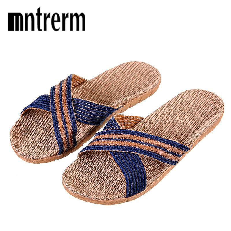 Mntrerm New Summer Men Flax Flip Flop Canvas Linen Non-Slip Designer Flat Sandals Home Slippers Man Fashion Slides Straw Shoe