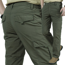 Spring Autumn Quick Dry Casual Stretch Pants Men Summer Breathable Tactical Trousers Army Military Waterproof Cargo