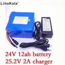 Liitokala 6s6p 24 V 12ah 250 W (25.2 v) cargador recargable de iones de litio 12Ah victoria El, BMS bicicleta El ctrica de bater + 2A cargador