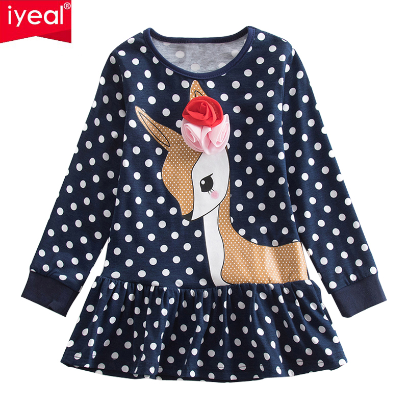 IYEAL Children Casual Dresses Girls Clothing Deer Pattern 100% Cotton Long Sleeve Toddler Baby Girls Dress for Kids Clothes 2-7Y toddlers girls dots deer pleated cotton dress long sleeve dresses page 10