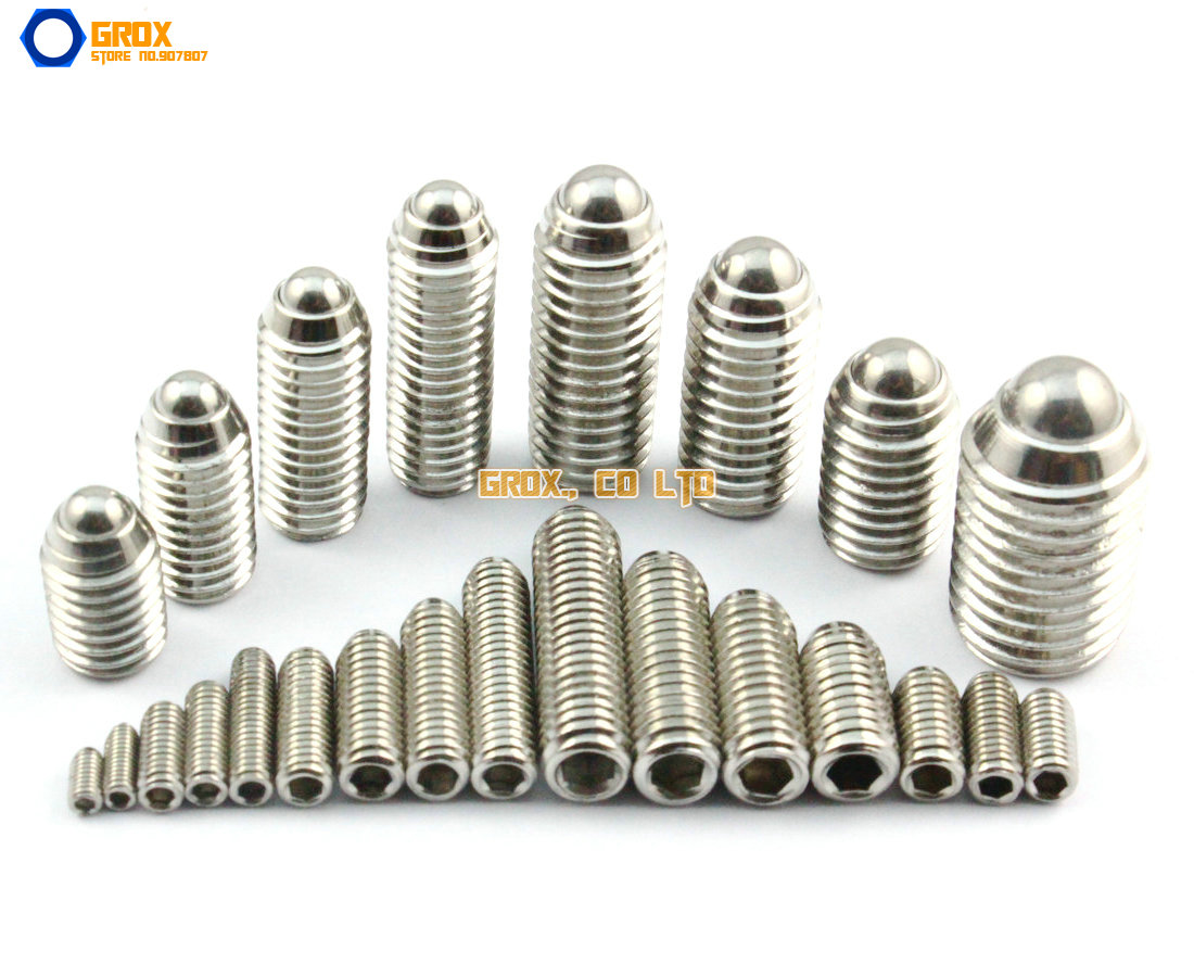M3 304 Stainless Steel Hex Socket Spring Ball Plunger Set Screw 20pcs m3 6 m3 x 6mm aluminum anodized hex socket button head screw
