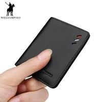 Williampolo Genuine Leather Men Design Slim Thin Mini Wallet Male Small Purse Credit Card Short Coin Ultrathin wallet PL250