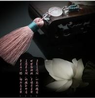 Gratis verzending 100% natuurlijke kristal poeder platte kraal auto sleutelhanger tas hanger roze omzoomd sleutelhanger charm vrouwelijke stijl