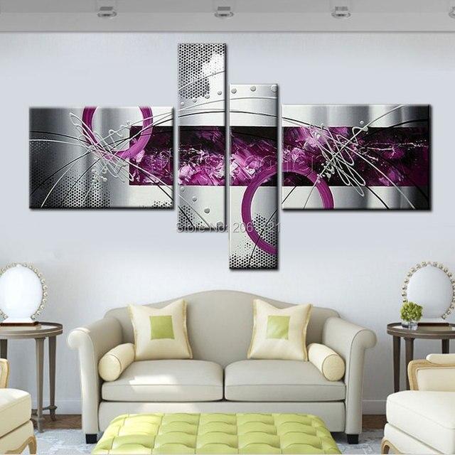 Moderne abstrakte ölgemälde grau lila wand leinwand kunst wohnkultur ...