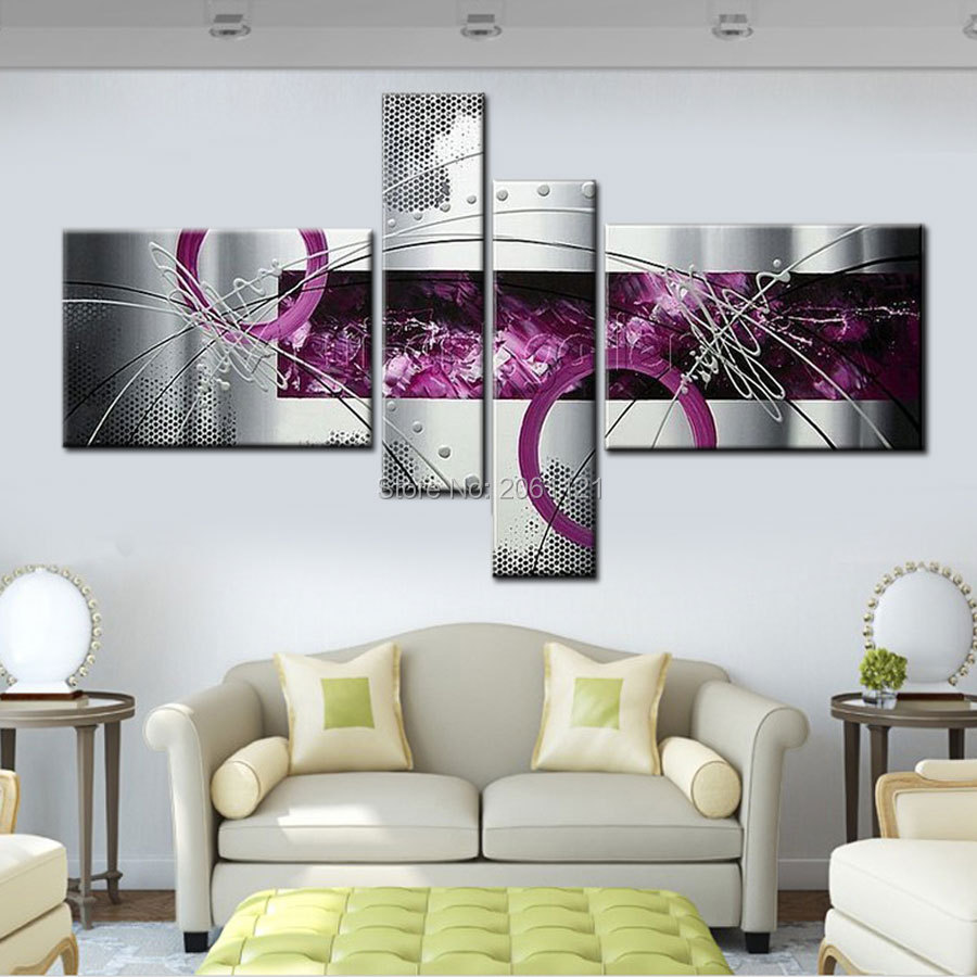 buy modern abstract oil painting gray purple wall canvas art home decor sets. Black Bedroom Furniture Sets. Home Design Ideas