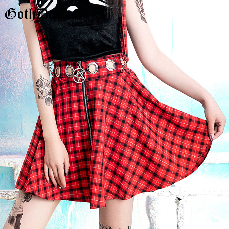 Goth Dark Aesthetic ELegant Red Plaid Skirts Gothic Summer 2019 Zipper Streetwear Harajuku Skirt Pleated Patchwork Skirts Eyelet
