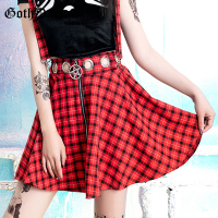 Goth Dark Aesthetic ELegant Red Plaid Skirts Gothic Summer 2019 Zipper Streetwear Harajuku Skirt Pleated Patchwork Skirts Eyelet