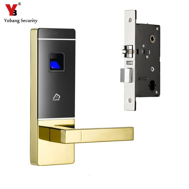 YobangSecurity Smart Entry Door Lock Biometric Fingerprint+4 Cards+2 Mechanical Keys Electronic Intelligent Lock For Office Home