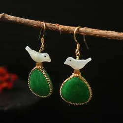 Amxiu 925 пробы 100% серебро Натуральный Полудрагоценный в виде Ракушки Серьги для женщин Подарки ювелирные изделия ручной работы на заказ птица
