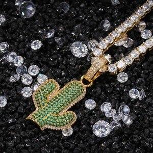 Image 3 - UWIN pendentifs en forme de Cactus en zircone cubique glacé, collier de plante hip hop à la mode, couleur or pour hommes