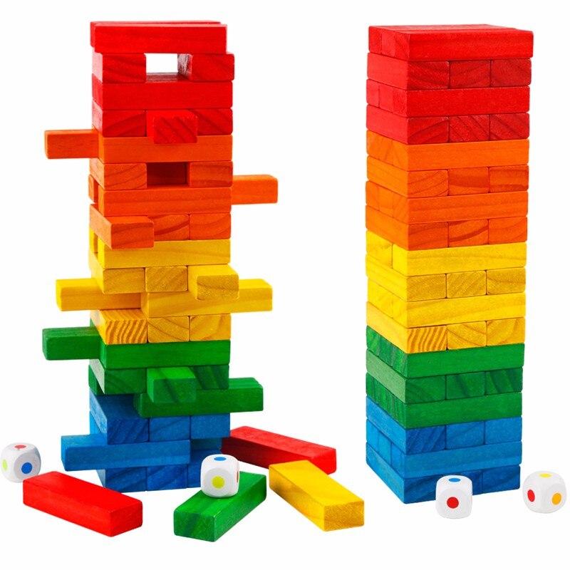 ФОТО 54Pcs Wooden Domino Building Blocks Colorful Design DIY Toys Kids Jenga Educational Preschool Training Brinquedos Juguets