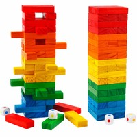 54Pcs Wooden Domino Building Blocks Colorful Design DIY Toys Kids Jenga Educational Preschool Training Brinquedos Juguets