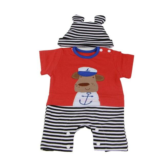 cf16e6c5c8ad Handmade Cartoon Baby Dolls Clothes Stripe Hat Suit 22 23 inch Baby ...