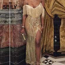 Seily Sexy Shoulder Spaghetti Strap Tassel Women Club Wear Dress Glitter Sequin Gold High Split Long Open Back Mesh Party Dress plus open shoulder split back pinstripe shirt